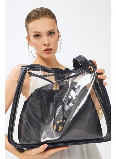 Deri Company Kadın Basic Omuz Çanta Transparan Düz Desen Logolu Lacivert (4032Lc) 214025 Lacivert